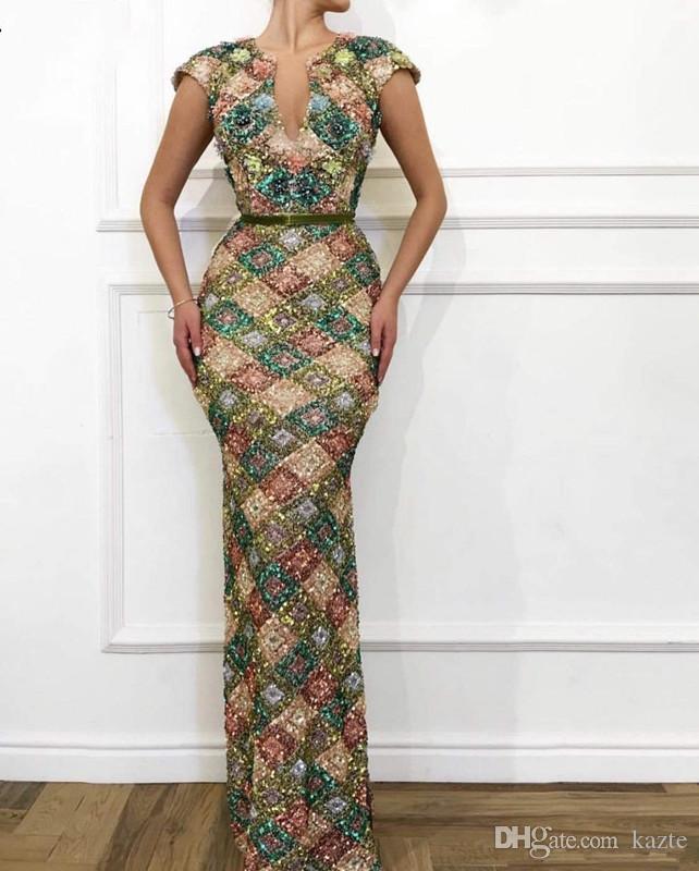 Longo Sparkly Lantejoulas Sereia Prom Pageant Vestidos 2020 Cap Sleeve Robe de soirée africanos árabes vestidos vestido de noite colorida