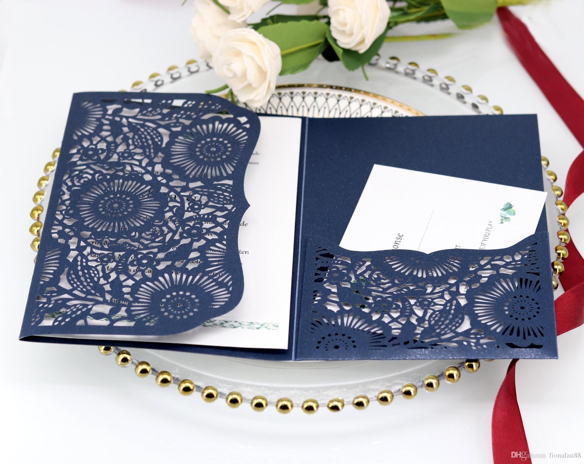 Invitaciones de la boda del corte del láser azul marino, la cena de la noche invitaciones de la cena de la tarde Corte laser Invites Invites Cover Envío gratis
