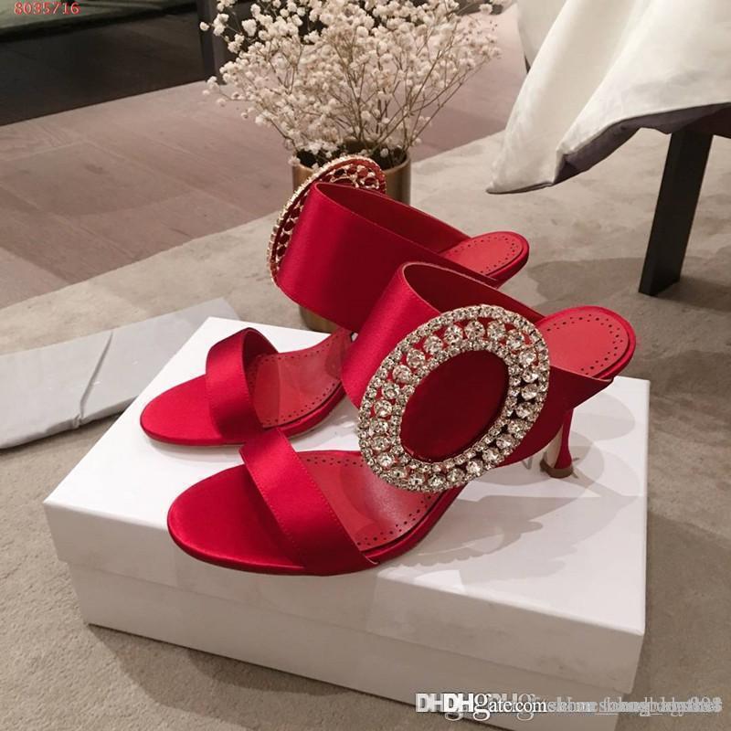 New high-end customization Silk satin Elegant big round buckle Rhinestone Imported silk fabric Sexy stitching stiletto sandals