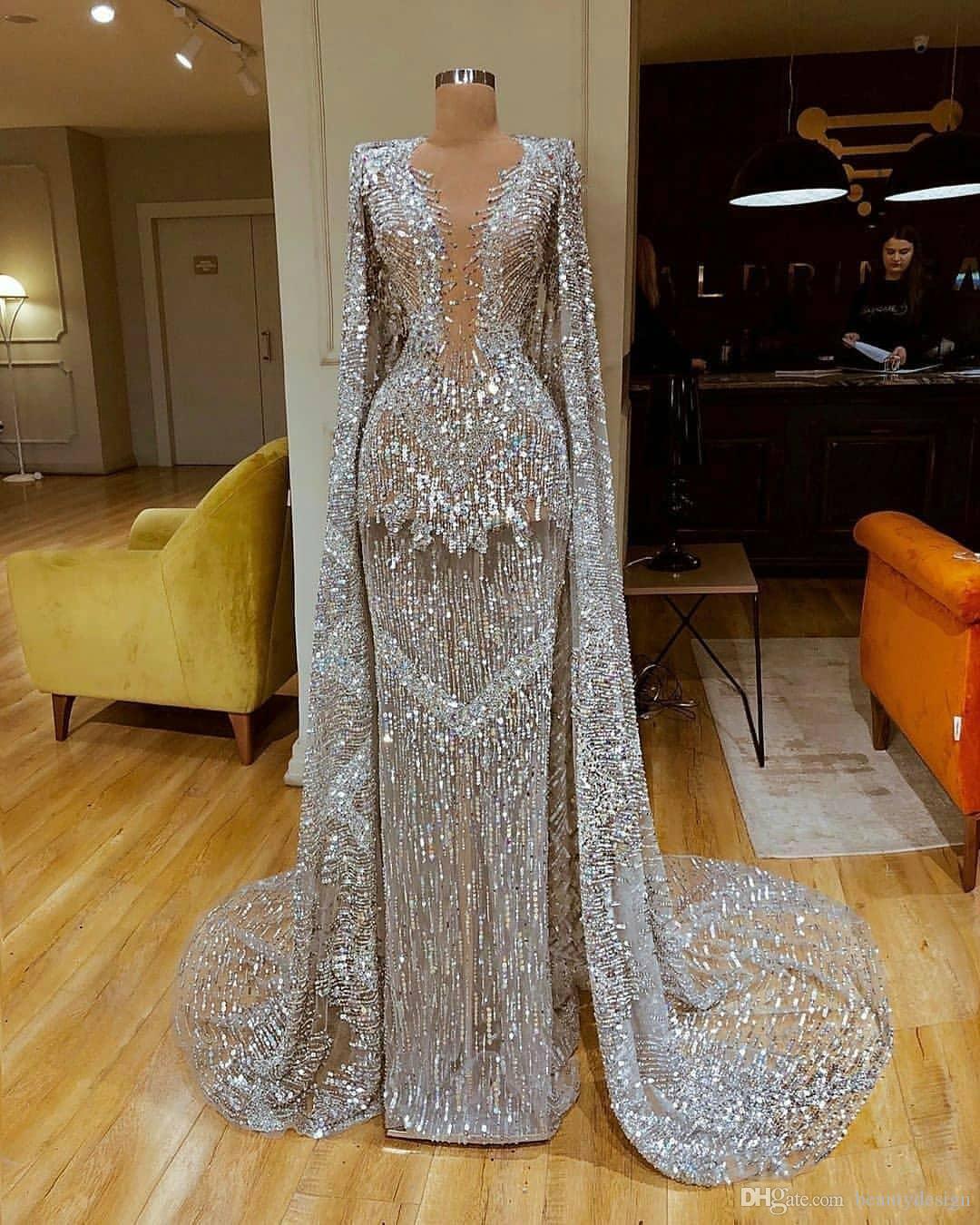 Sparkly Полный Sequined Длинные рукава Русалка Вечерние платья с Платки Luxury Silver Sequined Пром платье Формальная партии Pageant платье