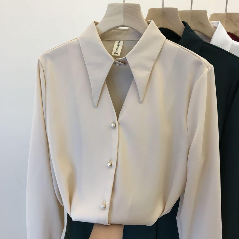 2020 Spring Korean Style Long Sleeve Lapel Silk Chiffon Shirt Women's Temperament Beaded Blouse Shirts Office Ladies Tops Blusa