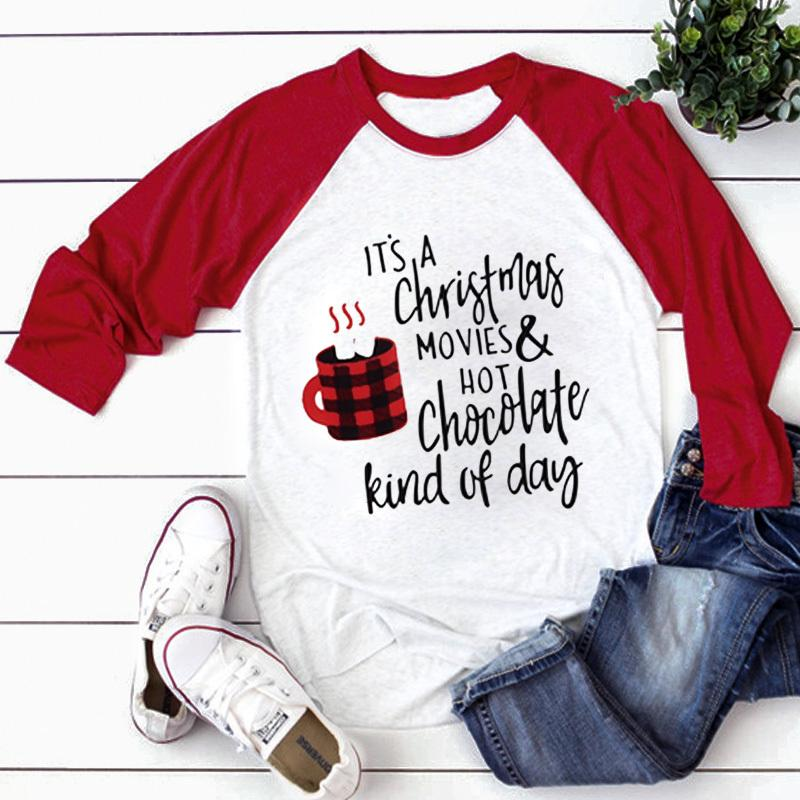Natale Top Printed T-shirt 2019 donne SUPERA IL T manica lunga Tees 3XL Top Donna Autunno Streetwear casuale femminile Tee Shirt Y200109