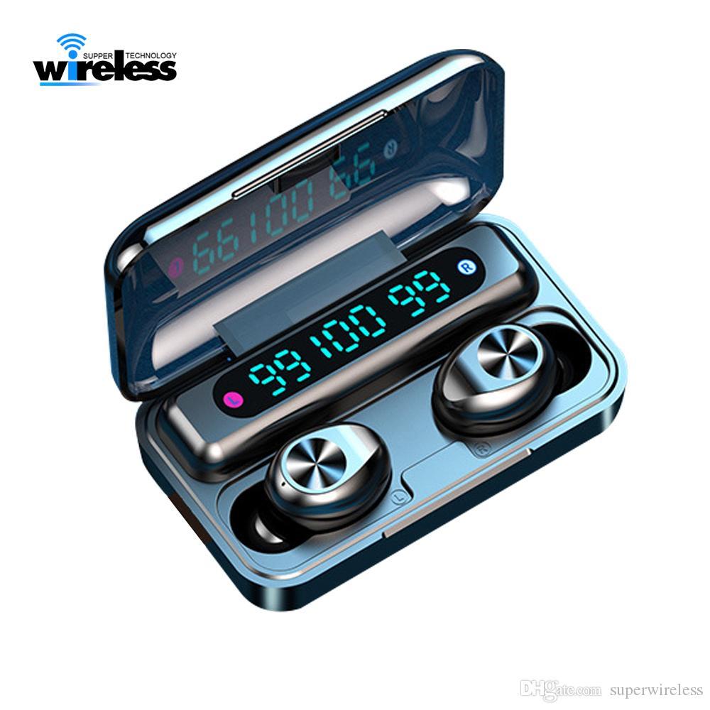 F9-10 TWS sem fio Bluetooth 5.0 Fones de ouvido Earbuds invisíveis relógio Stereo LED cancelamento de ruído Gaming Headset com 3 exibição poder levou
