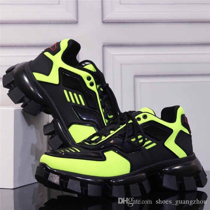 2020 dernière collection de chaussures de sport en tricot Cloudbust Thunder, tissu Eyestay surdimensionné formateurs hommes bottes de randonnée en bleu jaune noir