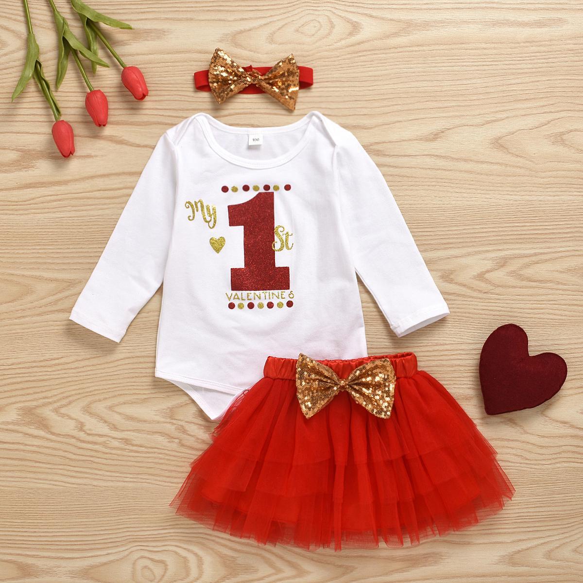 3pcs Bebé recién nacido arropa sistemas equipos del partido Letter Day Print Romper Encaje Faldas de San Valentín