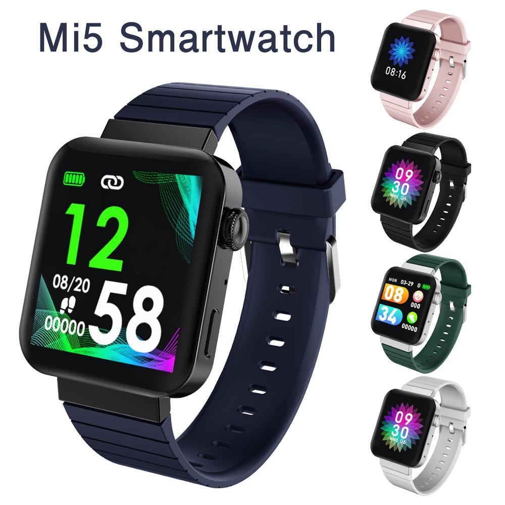 Real del ritmo cardíaco MI5 inteligente Reloj Hombres Mujeres Llamada Bluetooth Music Presión arterial Monitor de rastreador de ejercicios pulsera SmartWatch Sport Muñequera
