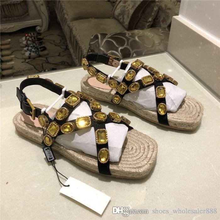 Diapositives plates de sandales de cordon de femmes avec des cristaux, sandales de Sneaker de Flashtrek dans la paille Wovening Sole chaussures de plage d'été pour les dames taille 34-42