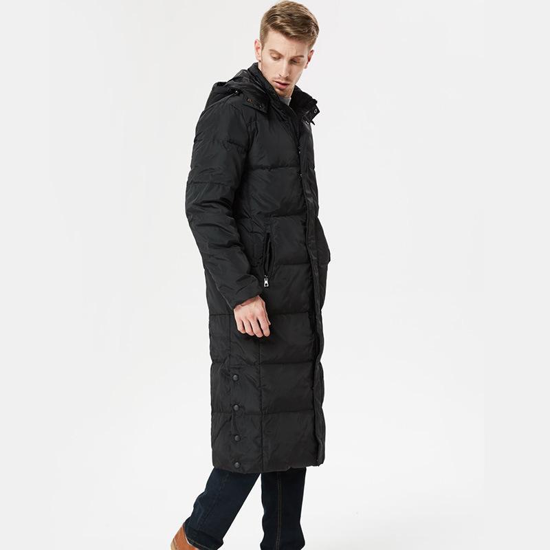 pato branco X-longa dos homens jaqueta grande e espessa quente casaco corta-vento de negócios de longo jaqueta 5XL