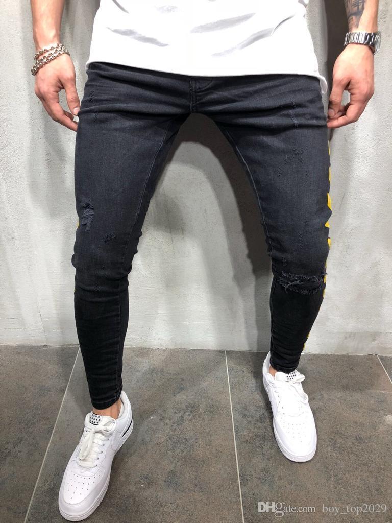 TOP 2020 Explosion Models Denim Men's trousers 2019 Autumn New Hole Fashion print black hip hop feet pants
