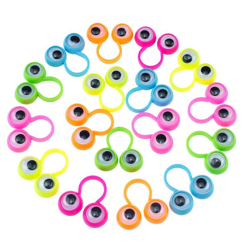 200 pcs / lote anéis dedo crianças brinquedos engraçados dos desenhos animados olhos anéis halloween suprimentos brinquedos presentes para crianças