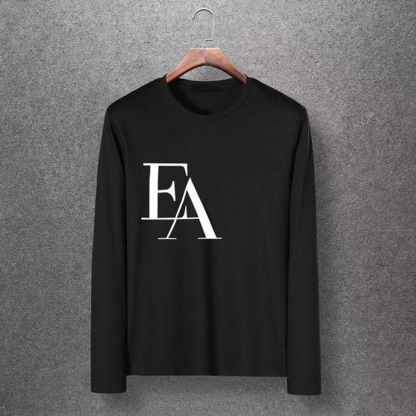 2019 EA Letter Autumn Designer Brand Mens Fashion Long Sleeve Shirt M 6XL Plus Size Zone High Quality Shirts Casual Tops T Shirts EAR Cool Shirt