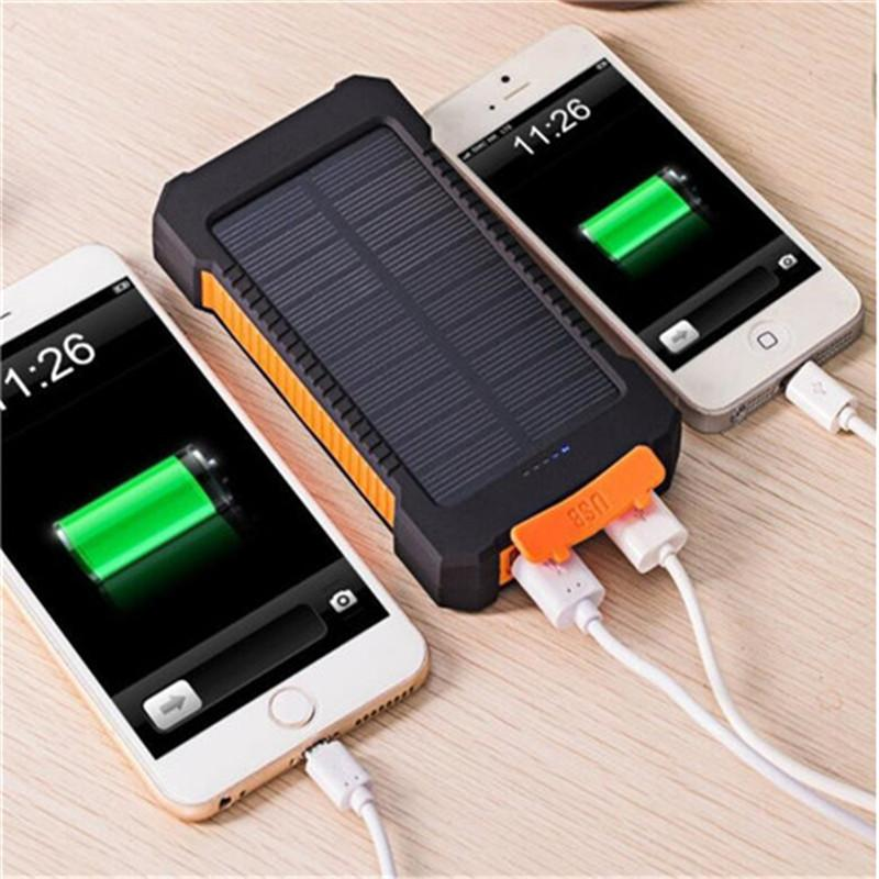 20000mah solar power bank Charger with LED flashlight Compass Camping lamp Double head Battery panel waterproof outdoor charging 1pcs drop