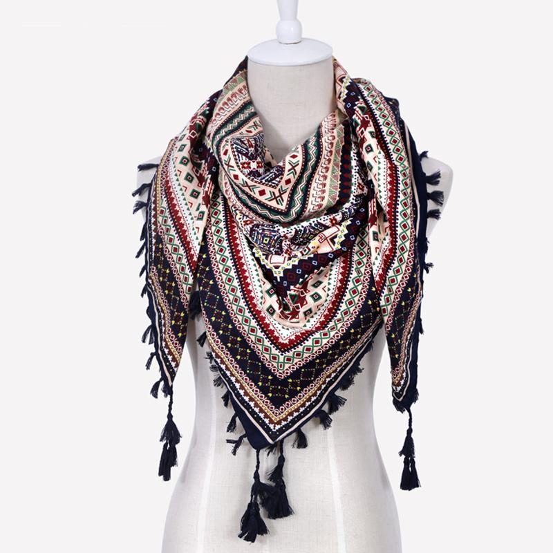 Moda de Las Mujeres Gran Cuadrado Borlas de Impresión Otoño Invierno Retro Bufanda de algodón india floural Diadema Wraps Foulard Femme 110 cm