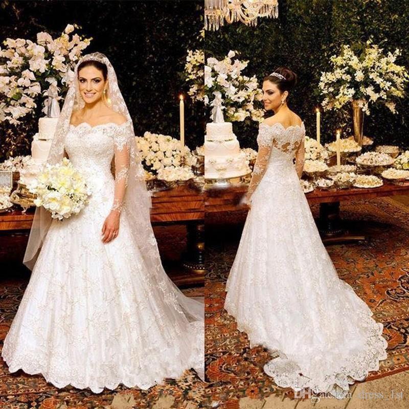 유행 2018 깎아 지른 긴 소매 웨딩 드레스 인도 어깨 띠 떨어져 선풍기 라인 지퍼 다시 레이스 아랍어 신부 가운