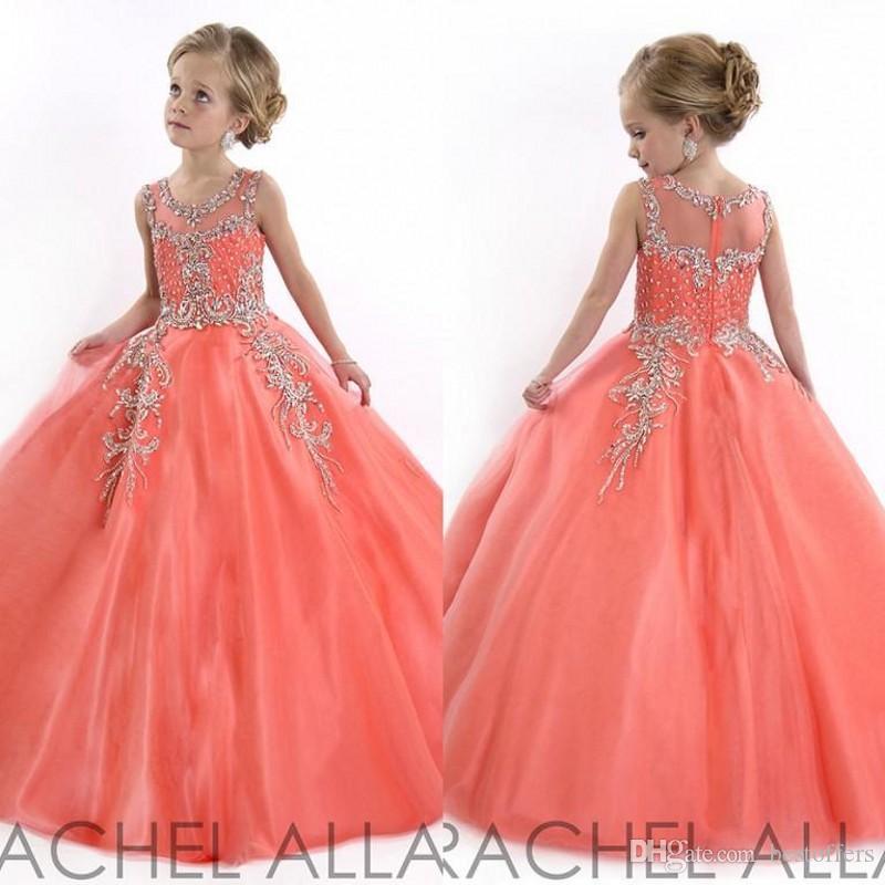 Vintage 2020 Little Girls Pageant robes pour les adolescents Princesse Tulle Jewel cristal perles corail enfants fleur filles robe robes d'anniversaire