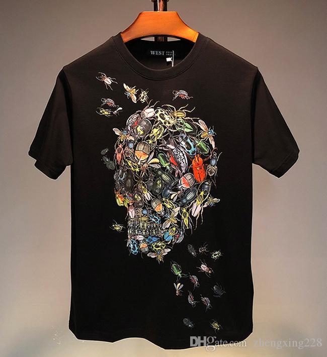 Nouveau Hommes Femmes T-Shirts Designer Hommes Marque T-shirts de luxe de la mode à manches courtes Vêtements pour hommes Hip Hop Skull Insect imprimé T-shirt Respirant