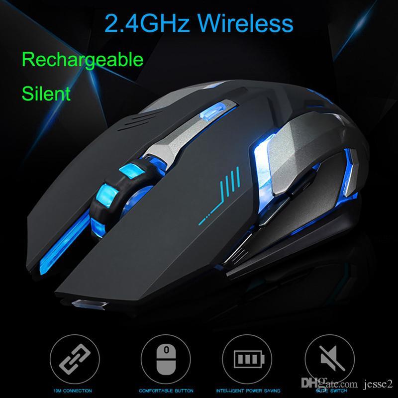 Аккумуляторная Х7 беспроводной светодиодной подсветкой USB оптическая эргономичная игровой мыши сем ФИО Моды Ноутбук Настольный компьютер немой игровой мыши