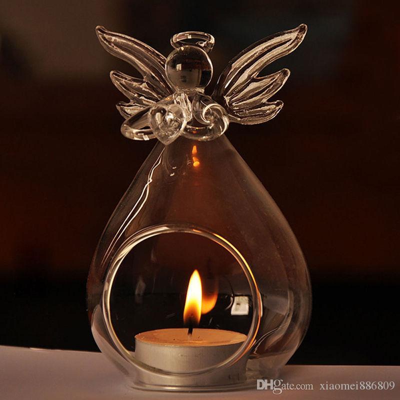 Transparent Angel Crystal Glass Candlestick Holder Hanging Romantic Wedding Bar Party Home Decor Indoor Garden Ornaments