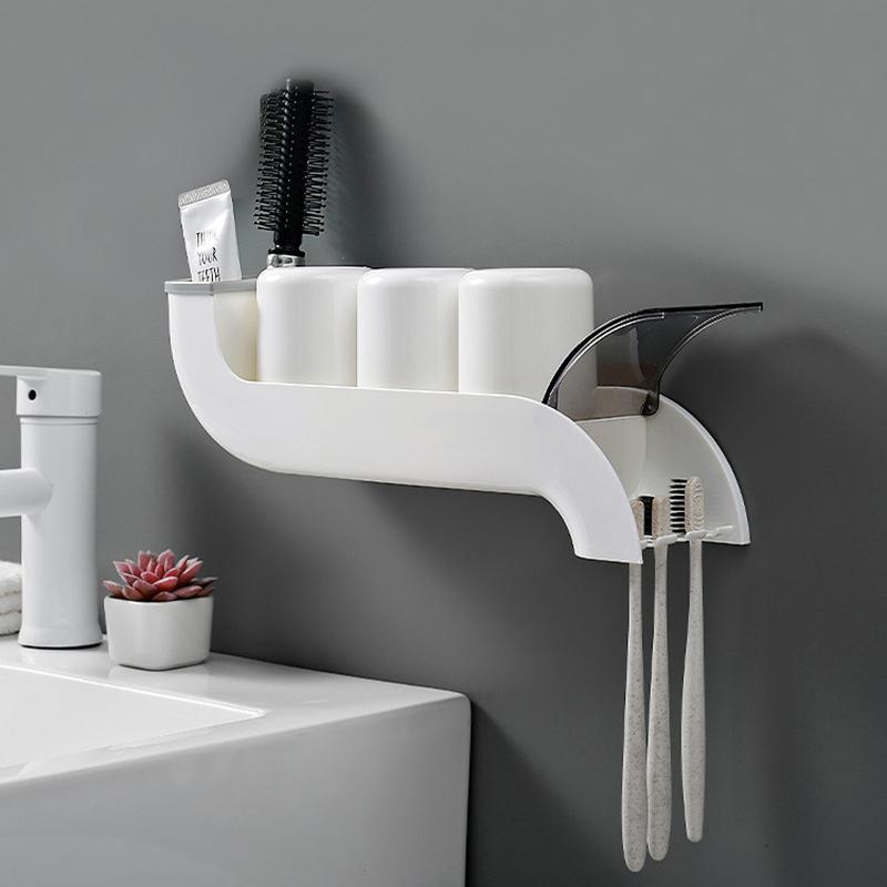 Baffect plástico cepillo de dientes titular Organizador invertido Copa de montaje en pared de baño de almacenamiento en rack creativo Accesorios de baño Set