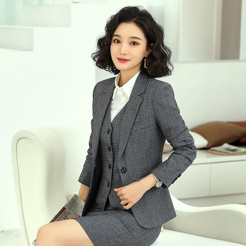 Formal Grey Blazer Women Business Suits Work Wear Office Ladies 3 Pieces Skirt, Vest and Jacket Sets