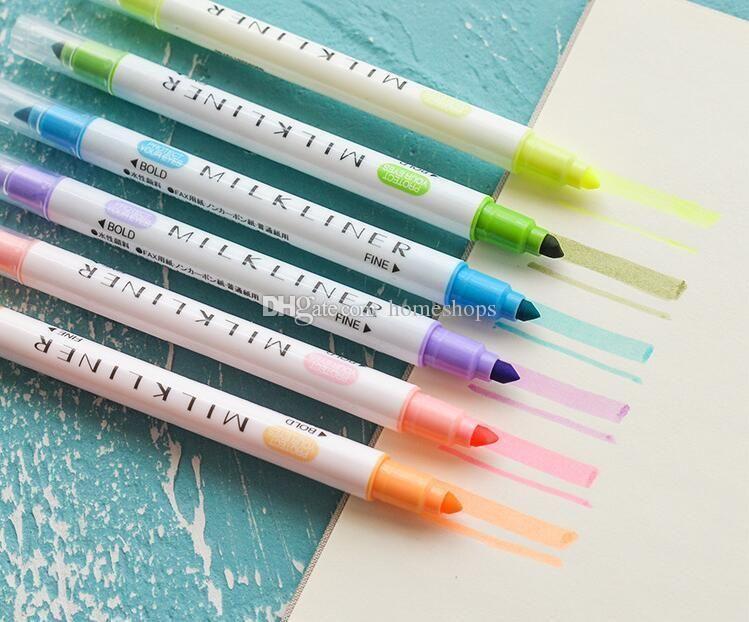 12 Parça Set İşaretleyiciler Mildliner Kalemler Hafif astar Çift Başlı Floresan Kalem Sevimli Sanat Fosforlu Çizim Mark Kalem Kırtasiye