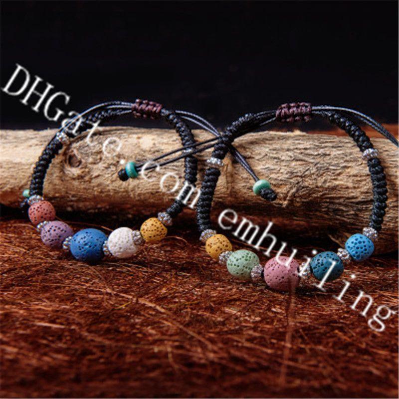 10Pcs Anti Stress Colorful Lava Rock Stone Beads Bracelet Tibetan Silver Spacer Beads Handmade Macrame Adjustable Length Bracelets for Women