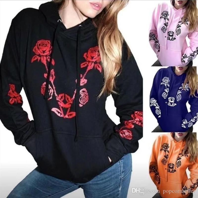 Neue Frauen-Designer Hoodies Art und Weise lose Rose Printed Solid Color mit Kapuze Hoodies Frauen Langarm-Kapuzenshirt