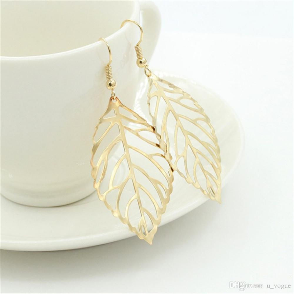 Hot Fashion Wholesale Jewelry Hollow Metal Leaves Dangling Long Statement Drop Earrings for Women Gifts Mujer