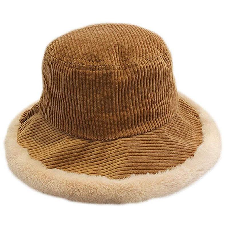 Şık Bayanlar Kış Kadife Kepçe Hat, Geniş Kenar Dikişli Peluş Balıkçı Şapka Sevgililerim için uygundur