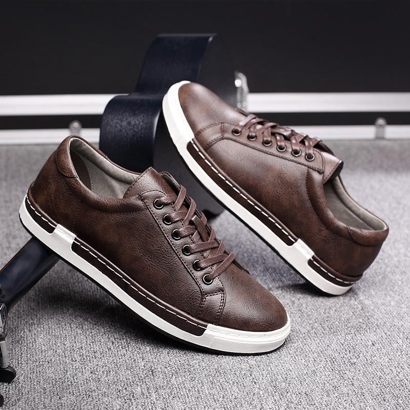 2019 Automne Nouveau Chaussures Casual Hommes cuir Flats Chaussures à lacets Simple Hommes élégant Grandes tailles Oxford pour les hommes N80