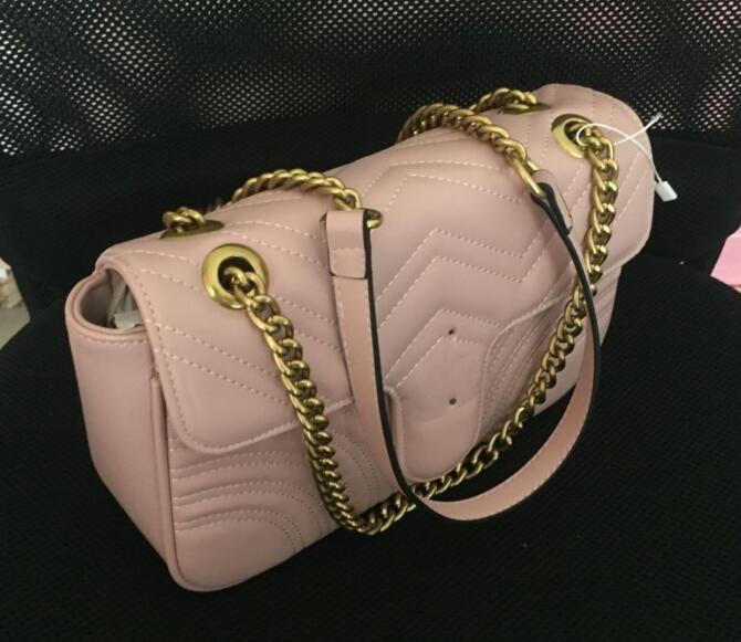حار بيع M443497 marmont حقائب الكتف المرأة الذهب سلسلة حقيبة crossbody حقائب جديد مصمم محفظة الإناث رسالة حقيبة حجم 26 سنتيمتر