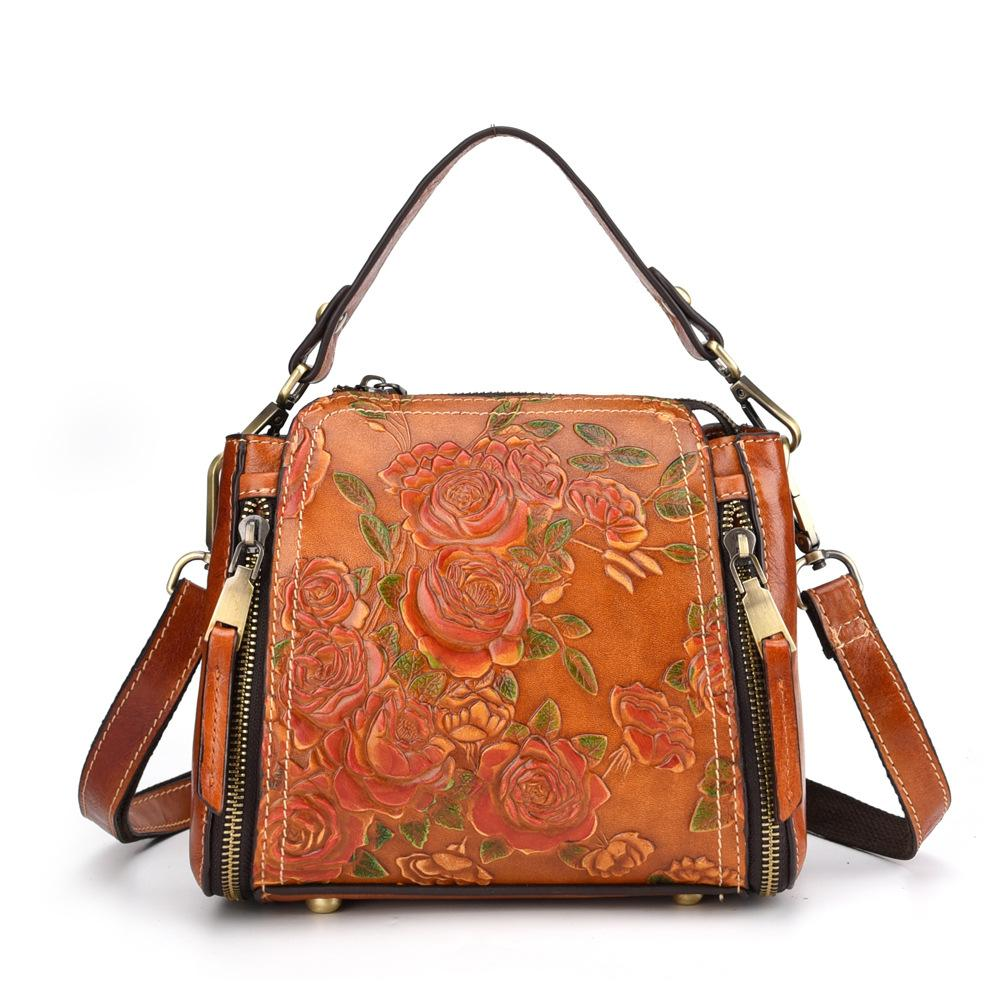 New Sling épaule Messenger Cross Body Bag Loisirs Brosse couleur petite poche gaufrée Sac femmes Sac en cuir véritable main