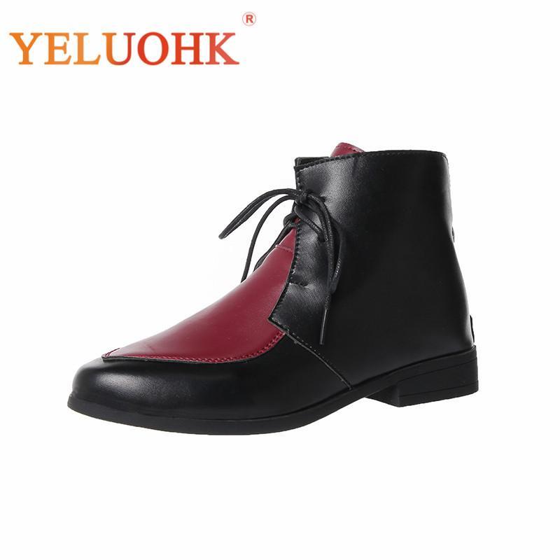 Kadınlar Bilek Boots Sonbahar Deri Dantel Yukarı Sivri Burun 35-43 Artı boyutu Kadınlar Çizme Kırmızı Sarı Bej Gri Siyah Y200115