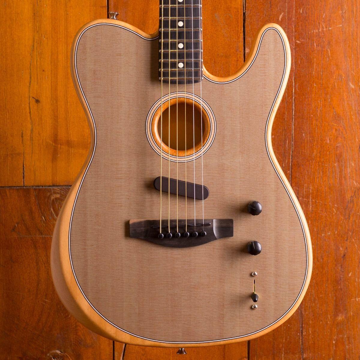 Custom Shop Acoustasonic Tele Sonic Grey Electric Guitar Polyester Satin Matte Finish, Spurce Top, Dot Inlay, Chrome Hardware