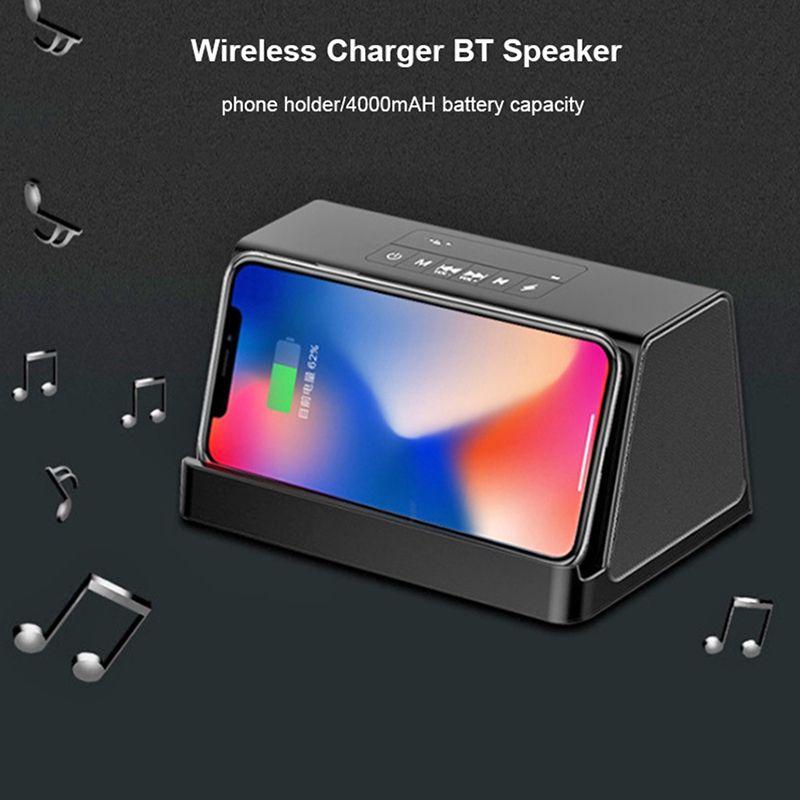 블루투스 스피커 2 개 + 10 W 고속 무선 충전기 Handfree Call 휴대용 Bass Power Bank 사운드 박스 (삼성 / iPhone 용)