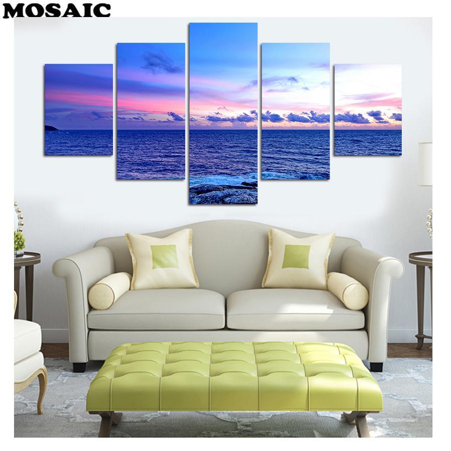mosaico D Pittura diamante fai da te 5 pezzi Spiaggia / Paesaggio marino Diamante Ricamo a punto croce Full Square / Round Drill Home Decor