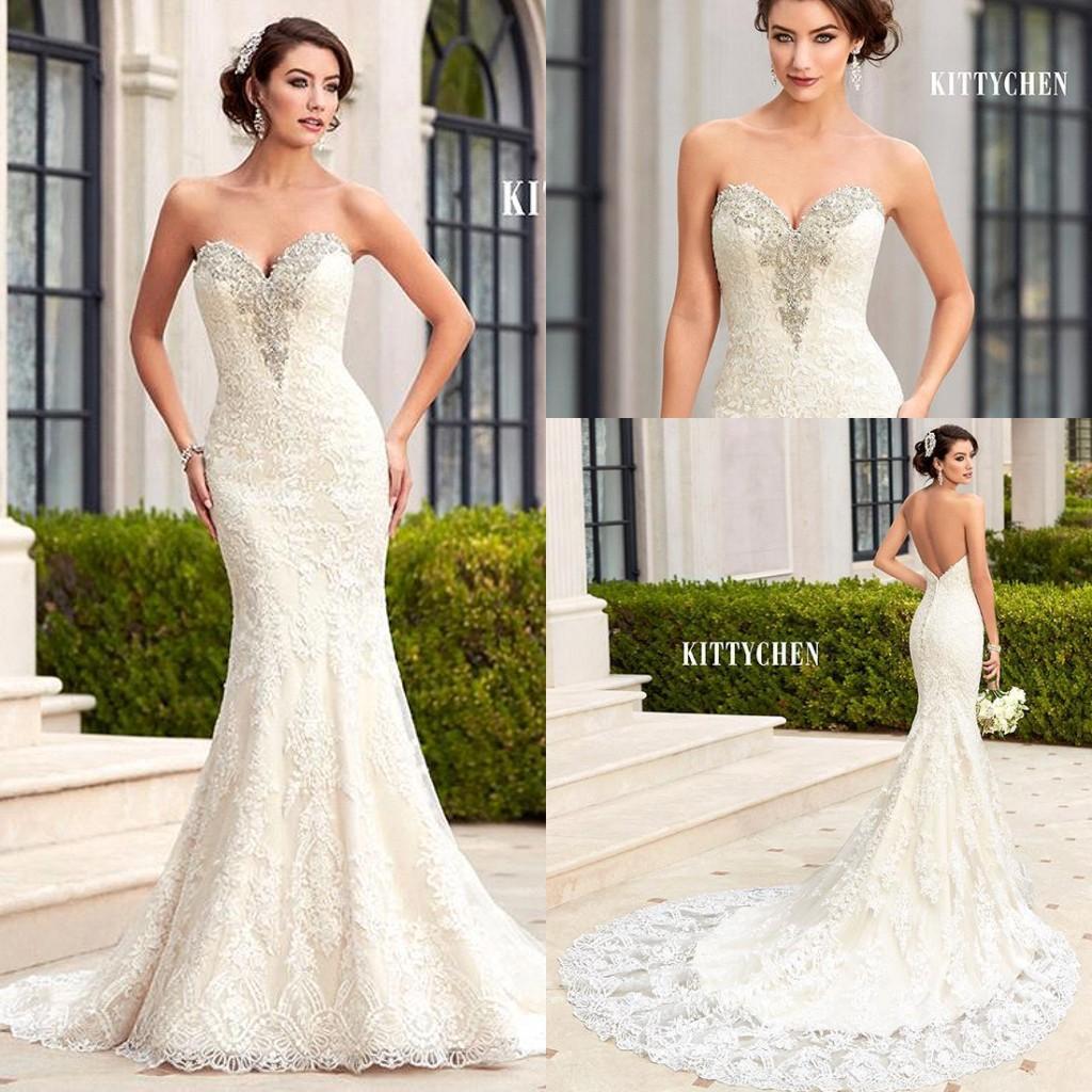 2019 lindo querida sereia rendas vestidos de casamento de cristal strass Backless Custom Made vestidos de noiva