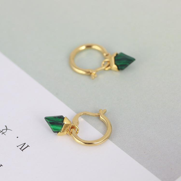 Moda- Dangle brinco com pedra trangle turquesa verde no brinco de 2,1 centímetros e 52 centímetros de comprimento colar de jóias PS6715