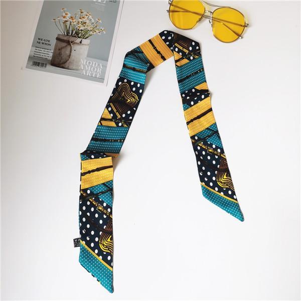 Moda capaz de seda cabelo seda senhora lenço lenço saco de moda fita decorativa impresso cachecol 90 * 5cm 369