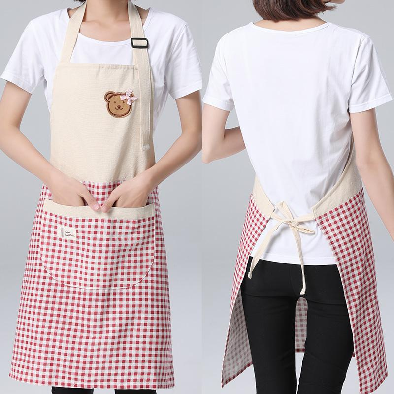 SINSNAN Korean Style Adjustable Cotton Linen Apron For Kitchen Polychromatic Splicing Aprons For Woman Chef Apron Cook Pinafore