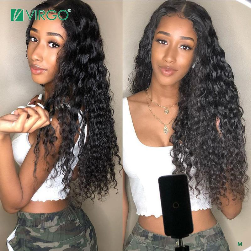 Virgo Brazilian Water Wave Wig 8-26 Inch Transparent HD 13x6 Lace Front Human Hair Wigs For Black Women Remy Hair 150% Density