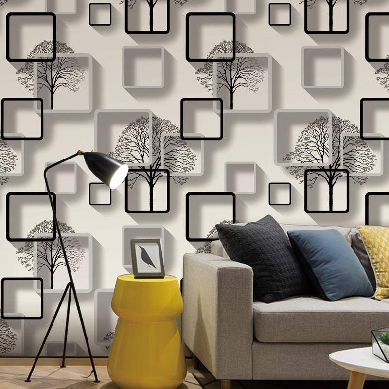 White,Purple,Blue Modern 3d Wallpaper For Living room Bedroom TV Background Home Decoration Squares Pattern Wall Paper Roll