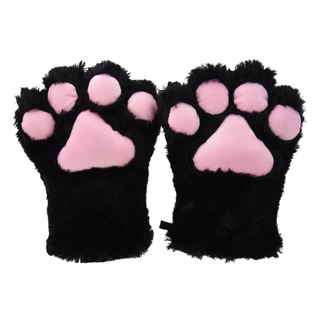 2 Parça Siyah Kedi Ayak Paw Peluş Eldiven + Kedi Kulaklar Saç Klipler Saç Pins Parti Cosplay C19021601