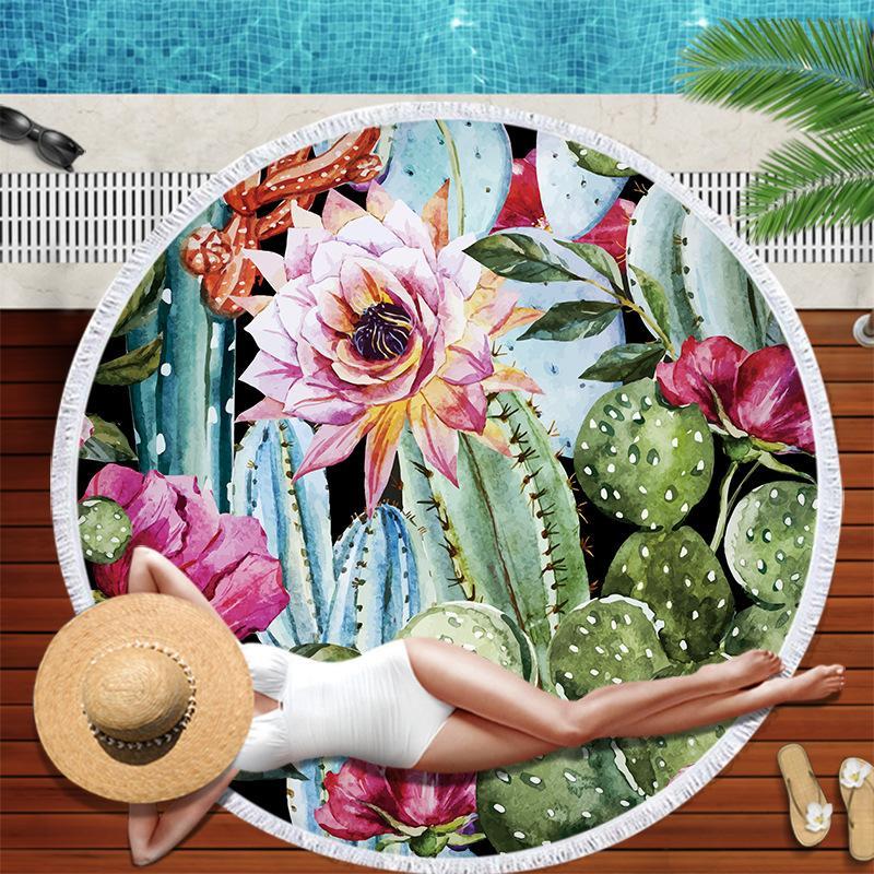 Yetişkin Mikrofiber Duş Banyo Havlu Seyahat Battaniye Yüzme Kapak Açık Yoga Mat için Cactus Bitki Yuvarlak Plaj Havlusu