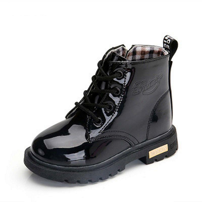 Nuevo 2019 Niñas Martin Botas Niños Zapatos Primavera Otoño Pu Cuero Niños Moda Niño Niños Calientes Botas de Invierno 3bb