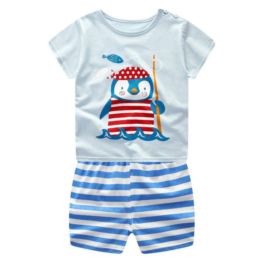 Summer New Baby Girl Bambino Manica corta Cartoon Pinguino Top + Pantaloncini Set due pezzi Moda casual Abiti dolci College carino