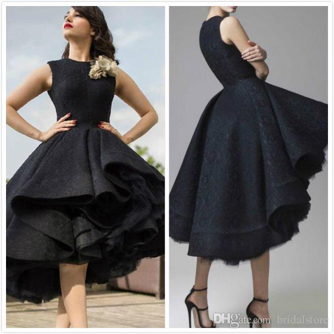 2019 Designer Dress Short Front Long Back Party Prom Dresses Elegant Black Lace Dubai Arabic Evening Gowns Tea Length High Low Celebrity Funky Prom
