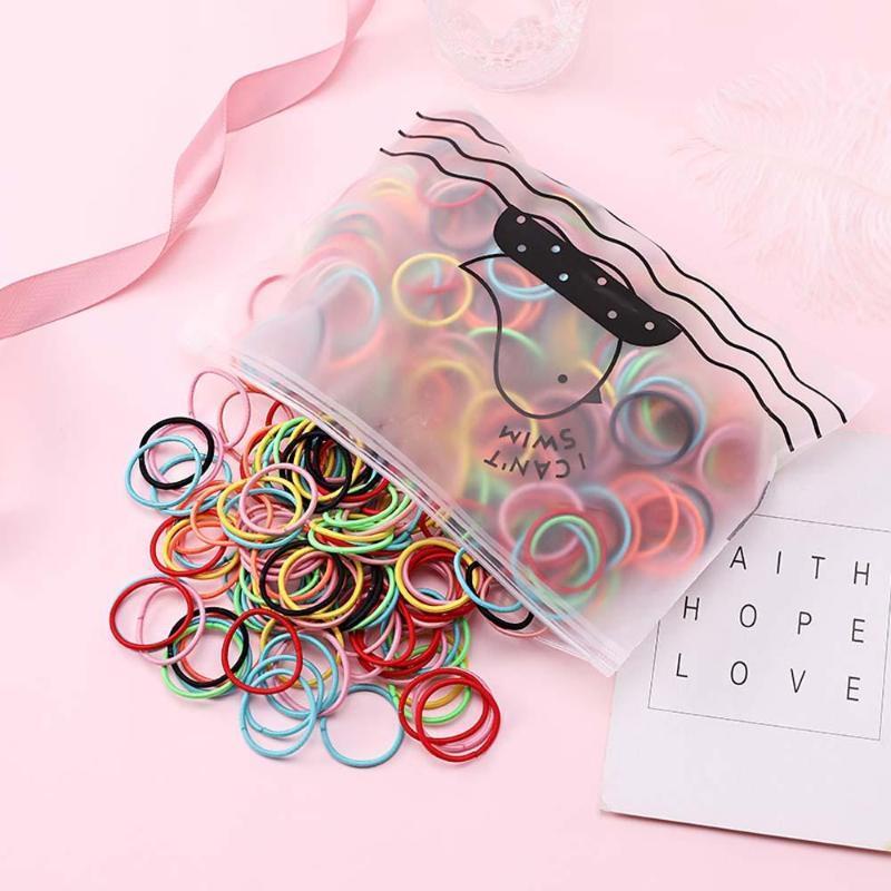 100 PC / Beutel Mädchen netter bunten elastische Haar-Seil-Pferdeschwanz-Halter Scrunchie Haar-Ring Mode-Accessoires
