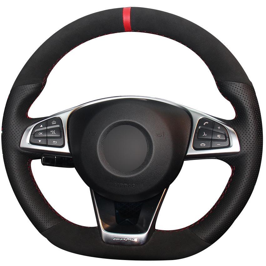 Schwarzes Naturleder Schwarzes Veloursleder-Lenkradbezug für Mercedes-Benz C200 C250 C300 B250 A250 A250 Sport CLA220