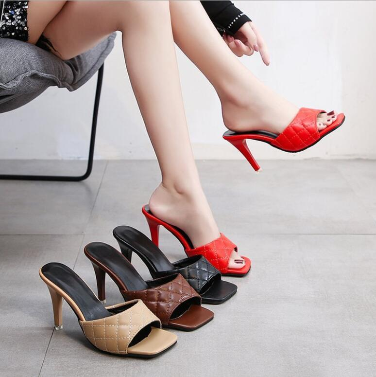 2020 New Square Toe Thin High Heel Slippers Women Sandals Fashion Slip On Slides Summer Beach Shoes Mules